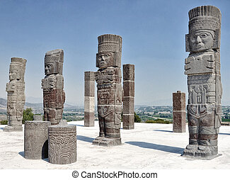 Tolteca Statue in Tula, Mexico - Close view of Tolteca...