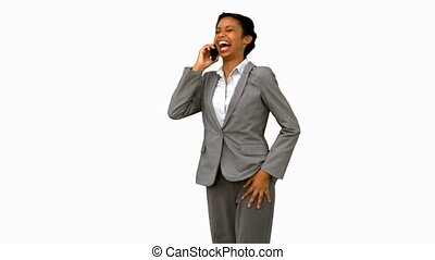 Happy businesswoman laughing