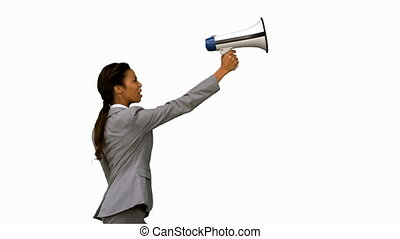 Businesswoman shouting into a megaphone on white screen in...