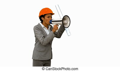Angry architect using a megaphone on white screen