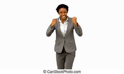 Attractive businesswoman gesturing on white screen