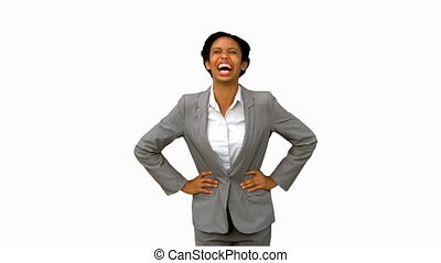 Attractive businesswoman laughing on white screen