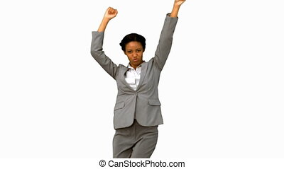 Cheerful businesswoman dancing on white screen