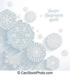 3D Abstract Snowflakes, vector