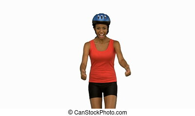 Cyclist woman giving thumbs up on white screen in slow...