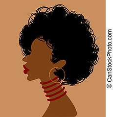 African woman in profile, vector illustration