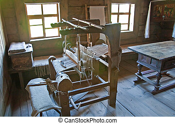 Ancient loom - Interior of rural house, where a weaver lived