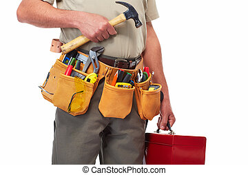 Handyman with a tool belt Isolated on white background