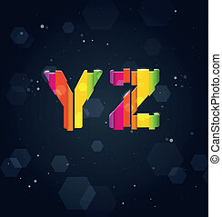 Abstract Rainbow Font Y-Z
