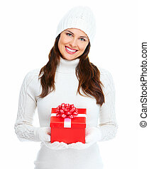 Beautiful young Christmas girl with gift - Beautiful young...