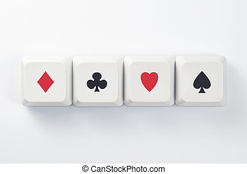 Online Gambling - Computer Keys With Card Game Suits Symbols...