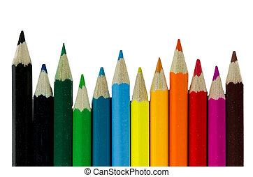 pencils colore - Photograph of colored pencils on a white...