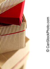 stack of cardboard boxes close up on white background