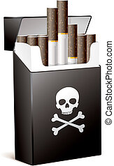 Smoking is bad for your health - Black pack of cigarettes...