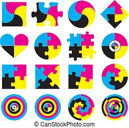 Creative CMYK logo or icon design