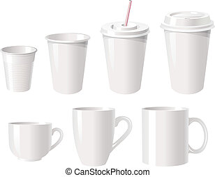 Collection white coffee cups - Collection of various white...