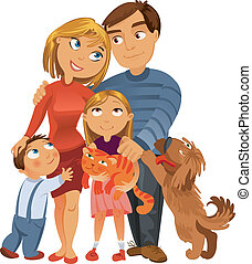 Happy family of four and two pets, posing together, vector...