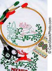 Christmas embroidery - White tablecloth in a round frame...