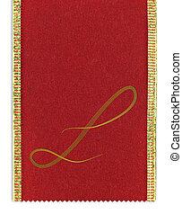 Textile monogram letter L on a ribbon