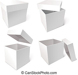 Collection of blank boxes isolated on white background,...