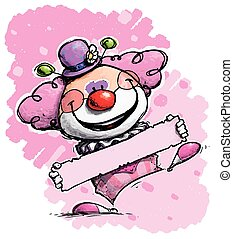 Clown Holding a Label - Girl Colors - Cartoon/Artistic...