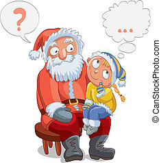 Little girl sitting on Santa's lap and make a wish, vector...