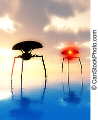 Sea Tripods 7 - Two invading alien tripods walking the...