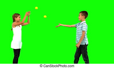Siblings playing with tennis balls on green screen in slow...
