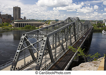 Alexandra Bridge between Ottawa and Gatineau in Canada -...