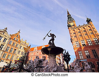Neptune Fountain in Gdansk, Poland - Fountain of Neptune on...