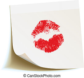 White sticker with the imprint of a red kiss isolated on...