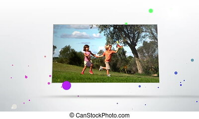 siblings playing in a park - Animation of siblings playing...