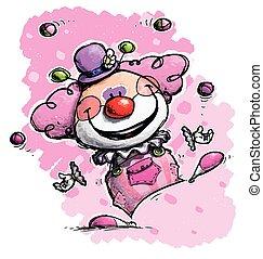 Clown Juggling - Girl Colors - Cartoon/Artistic illustration...