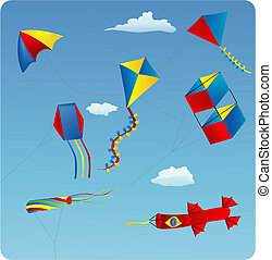 kites - illustration of various kites in the blue sky