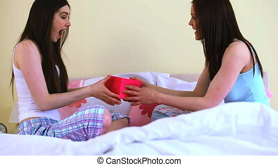 Woman offering gift to her friend - Young woman offering...
