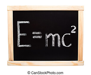Theory of Relativity - E=mc2 handwritten with white chalk on...