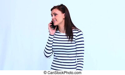 Beautiful trendy woman on the phone