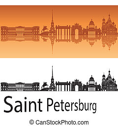 Saint Petersburg skyline in orange background in editable...