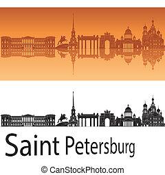 Saint Petersburg skyline in orange background in editable...