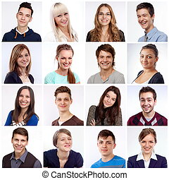 Smiling faces - Portraits of men and women smiling and...