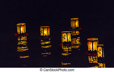 Japanese floating Lanterns - Floating lanterns are lit...