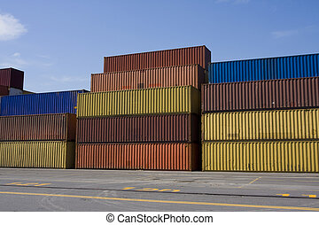 Stacks of cargo containers - Stacks of colored cargo...