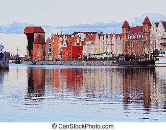 Old Port Crane in Gdansk, Poland - Port Crane - Gate in the...