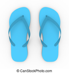 Chanclas - 3d render of a pair of slippers in blue. Summer...