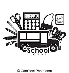 school icons over white background vector illustration