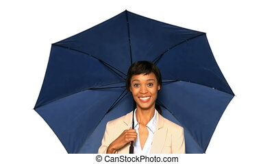 Sexy woman playing with umbrella on white background