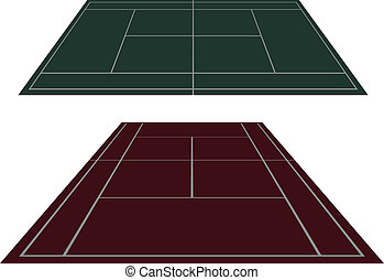 Set tennis courts in perspective - Vector set of tennis...