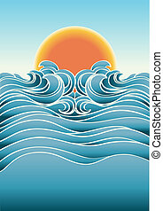 Seascape abstract background with sunlight.Vector color illustration for design