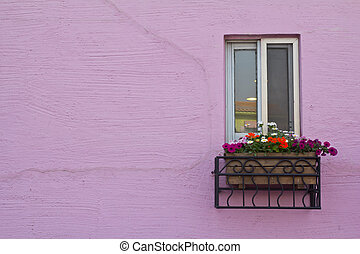window on the pink wall with space