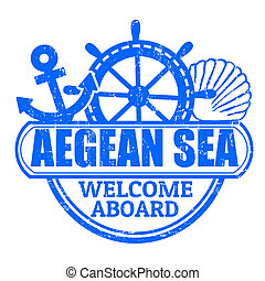 Aegean Sea stamp - Grunge rubber stamp with the text Aegean...